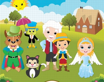 Pinocchio fairy tale inspired clipart