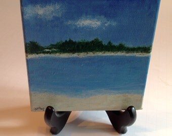 Original mini acrylic painting with easel
