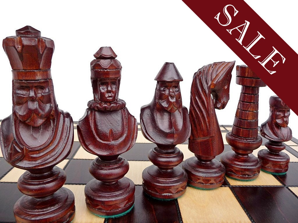 Unique Handmade Large Wooden Chess Set 60x60cm By Stylishchess