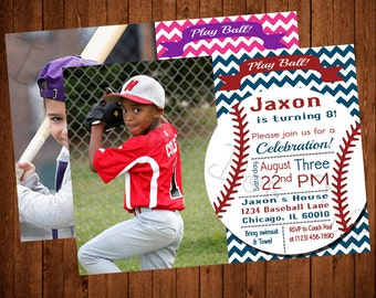 Vintage Themed Printable Baseball Birthday Invitation with Picture! (Blue or Pink Available!)