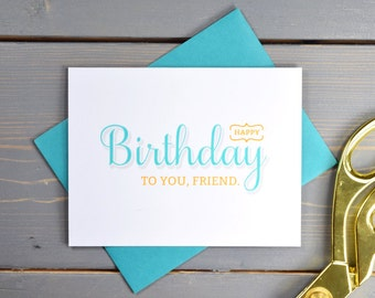 Happy Birthday, Friend Card, Birthday Card, Blue and Yellow