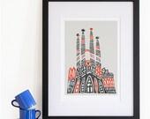 Sagrada Familia Barcelona Print, Iconic Buildings, Architecture Travel Art, European Cities, Around the World, Honeymoon or Anniversary Gift
