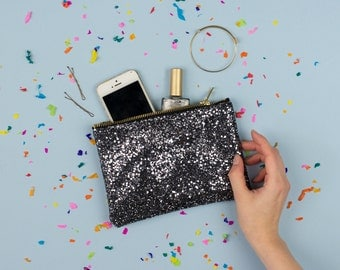 Pewter Glitter Party Clutch Purse Make Up Bag.