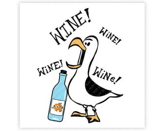 Disney, Seagull, Wine, Finding Nemo, Finding Dory, Epcot, Food, Illustration, TShirt Design, Cut File, svg, pdf, eps, png, dxf
