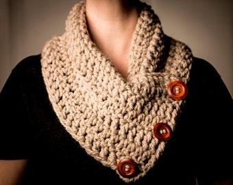 Beige Crocheted Cowl