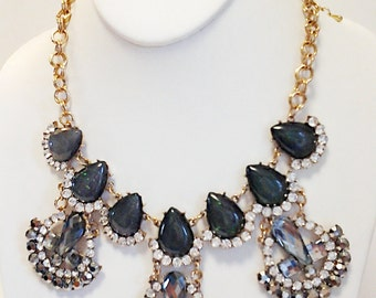 Gold Chain Gray Teardrops Crystal Clear Rhinestones Necklace / Gray Bib Necklace.