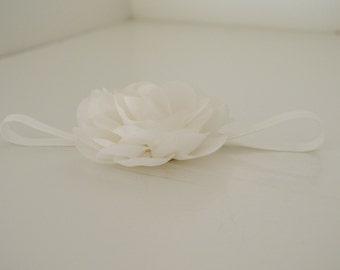 Flower Headband, White Headband, Decorative Headband, Newborn Photo Prop, Baby Headband, Christening Headband
