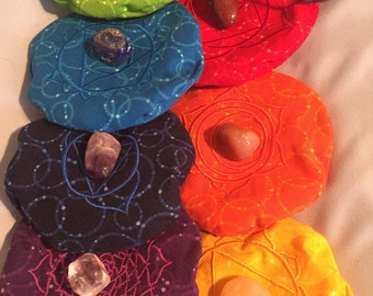 7 Round Chakra Symbols Pillows with washable covers Custom Made