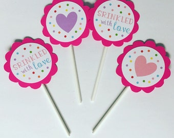 Sprinkled With Love Cupcake Toppers, set of 12