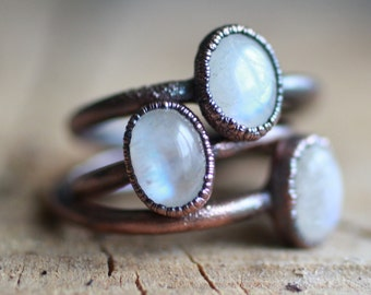 Moonstone Copper Ring Electro-formed ring Moonstone ring Copper ring