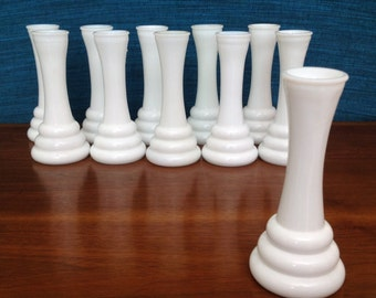 12 Milk glass vases, bud vases, 6 inches tall, small vases, milkglass, matching vases, wedding centerpiece, Randall Short