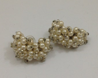 1960's pearl and baguette cluster pierced earrings