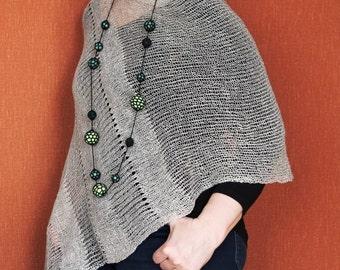 asymmetrical Pure Linen Pancho Cape Beige wrap poncho linen sweater pancho linen capeBeige Scarf Knit Shawl Modern Clothing Accessories