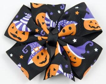 Halloween Hair Bow, Orange and Black Hair Bow, Halloween Bow, Orange Hair Bow, Halloween Hair Clip, Jack O Lantern Hair Bow (Item #10222)