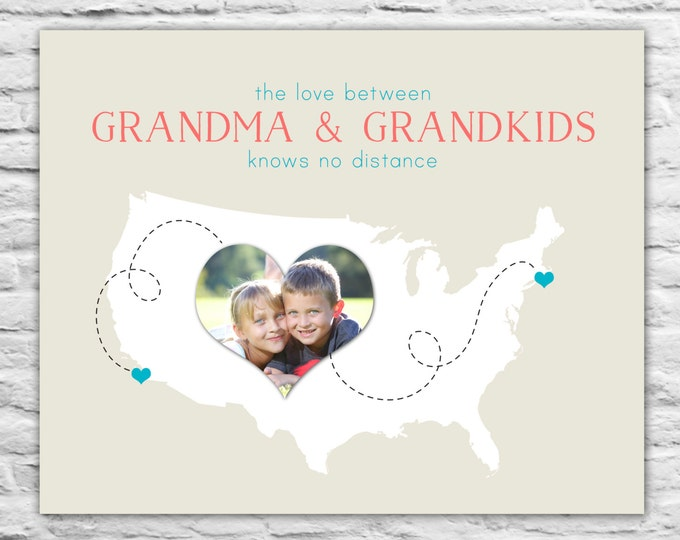 Christmas Gift For Grandma, Grandpa, Grandmother Birthday Gift, from Grandkids Custom Map from Grandkids Photo Map Long Distance Unique