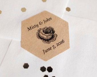Hexagon sticker printing brown kraft paper