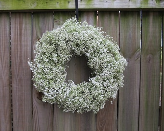 Fresh baby's breath wreath - floral handmade wreath