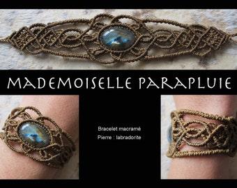 Bracelet Brown macrame pierre labradorite macrame bracelet