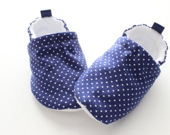navy dotty - baby shoes, Soft Sole Baby Shoes, Fabric Baby Booties for boys and girls