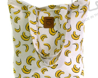 Banana bag, tote bag, Yellow & Ivory, Graphic tote, Large bag, Canvas Bag, Handbag, shoulder bag, Gift