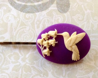 Ivory And Purple Hummingbird Hair Clip