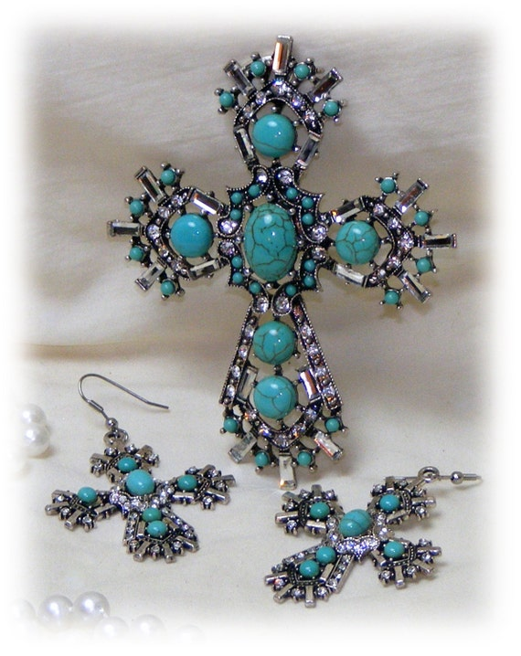 BREATH TAKING TURQUOISE Jewelry Pendant & Earrings Set . . Gorgeous