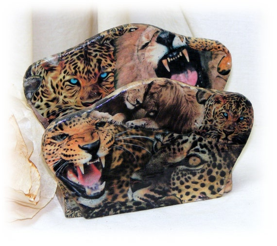 JUNGLE CATS DESIGN . . Napkin Holder Up-Cycled