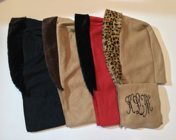 Monogrammed Womens Polar Fleece Hoodie and Scarf Head Wrap and Scarf Hat and Scarf 4 Colors Personalized