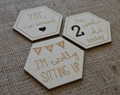 Solid Wood 'New' Baby Milestone Cards/Tokens/Tags 18 [Ideal gifts for new parents] Unique & Quirky Geo - Hexagon Design