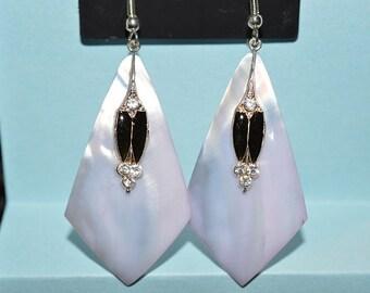 Beautiful Vintage Soft Purple Mother of Pearl, Black Enamel and Rhinestone Oval Earrings (1017140)