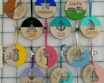 Bag Tags. Timber bag tags for boys and girls.