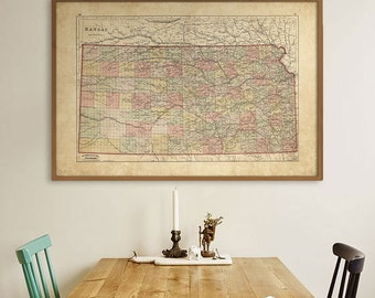 """Kansas map 1884 Vintage map of Kansas, in 4 sizes up to 54x36"""" Kansas state map, KS poster, also in blue color - Limited Edition of 100"""