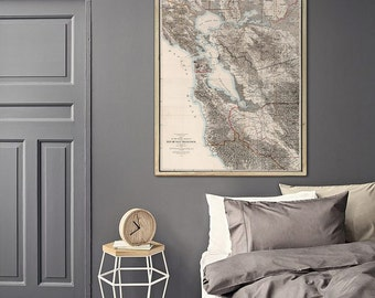 """Map of San Francisco Bay 1873 Vintage SF Bay Map in 5 sizes up to 48x64"""" in 1 or 4 parts Bay Area, also in blue - Limited Edition of 100"""
