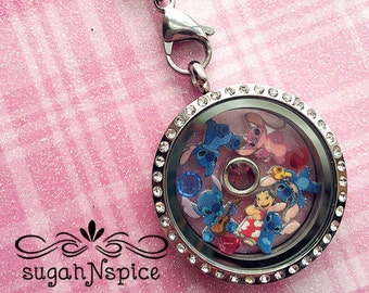 Lilo and Stitch Floating Locket - Lilo and Stitch Necklace - Lilo and Stitch Floating Charms - Angel Floating Charm - Lilo Charms