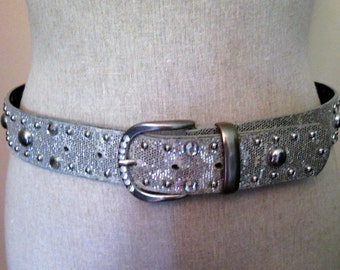 Bling Belt Edged with small silver studs glitter larger silver studs and Rhinestones 5 Notched Belt with Silver Buckle