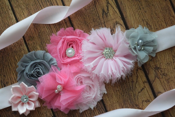 Flower Sash, Light pink5, grey and pink Sash , flower Belt, maternity sash