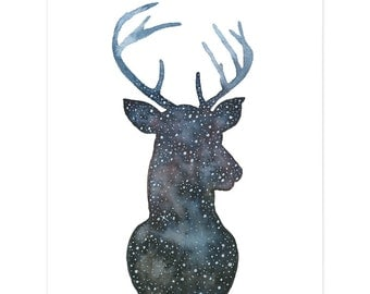 Astro Deer Small Art Print, Art Print, Deer Print, Wall Art, Art Print, Nursery Art, Deer Illustration, Water Colour, Water Color, Deer Art