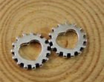 Silver heart cog or gear charm silver heart gear charm steampunk charms