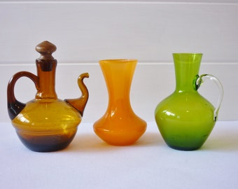 Three Small Art Glass Vessels