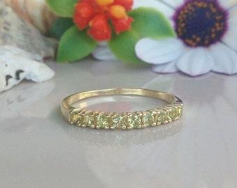 20% off- SALE!! Peridot Ring - Slim Ring - Prong Ring - Gold Ring - Dainty Ring - Light Green Ring - Half Eternity Ring - August Birthstone