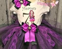 Raven Queen Custom Tutu,Raven Queen Custom Outfit,Raven Queen Costume,Raven Queen Birthday Outfit,Ever After High Raven Queen,Girls Birthday