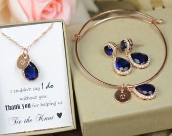 Sapphire blue, tear drop necklace earrings Bracelet, navy sapphire blue jewelry,bridesmaid gifts, bridesmaid necklace,navy wedding jewelry