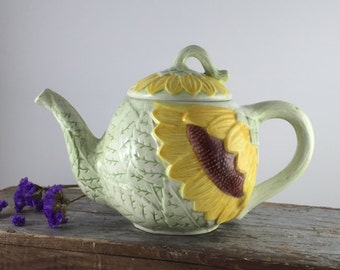 Vintage Ceramic Teapot - Sunflower Teapot - Vintage Ceramic Teapot with Sunflowers -  Sunflowers