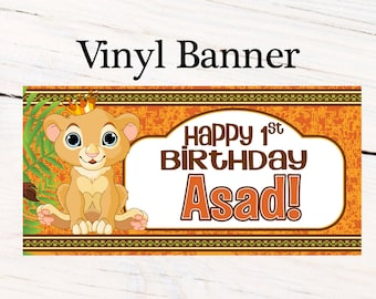 Happy Birthday Banner Jungle King ~ Personalized Lion King Party Banners - Photo Backdrop Banner, First Birthday Banner, 1st Birthday