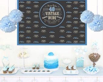 Vintage Dude Personalized Backdrop - Birthday Cake Table Backdrop, Milestone 40th Birthday, Custom Backdrop, Photo Backdrop