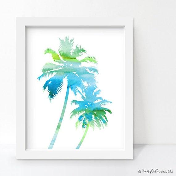 Palm tree print bathroom printable art digital download beach for Palm tree bathroom ideas