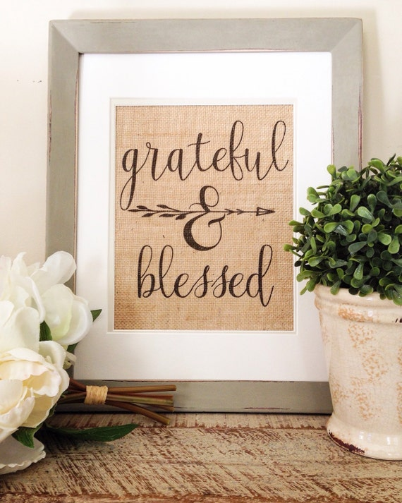 Burlap Print Grateful Blessed Wall Decor by PeoniesandTwine
