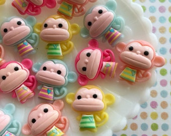 Pastel Little Monkey Cabochons - Cute Kawaii Decoden Flat Back Resin Cabochons