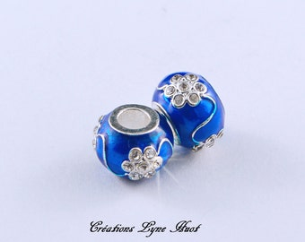 Choose 1, 3 or 5 European style charm beads blue color , with rhinestones!