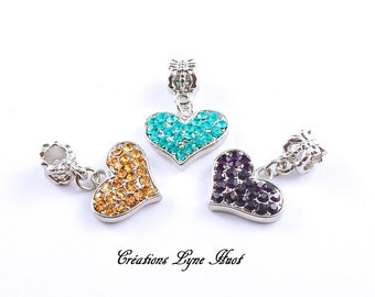 Charm heart-shaped set with rhinestones, the price is for a Charm, 3 colors- European bead!